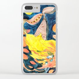 gold, Yellow and blue mermaid Clear iPhone Case