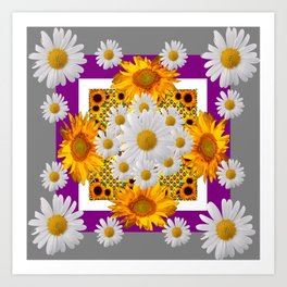 GREY & WHITE DAISIES FLORAL ABSTRACT & YELLOW SUNFLOWERS Art Print