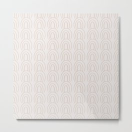 Cute Simple Modern Rainbow Pattern in Neutral Tan and White Metal Print