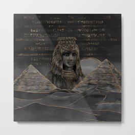 Cleopatra on Egyptian pyramids landscape Metal Print
