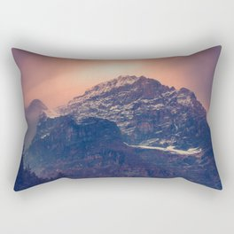 Beautiful Mountain Snow Capped landscape With Green Pine Trees Glowing pink Sunset Behind It Rectangular Pillow