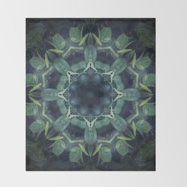 Mystical // Dark Green Plant Visionary Art Mandala Ayahuasca Sacred Geometry Psychedelic Trippy Throw Blanket
