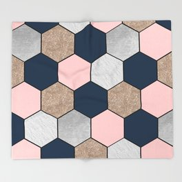 Navy and peach marble and foil hexagons Throw Blanket