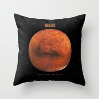 mars Throw Pillows featuring Mars by Terry Fan
