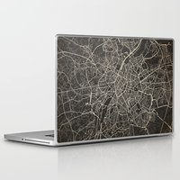 brussels Laptop & iPad Skins featuring brussels map ink lines by NJ-Illustrations
