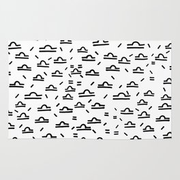 Libra Symbol Pattern Simple Black and White Drawn Rug