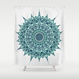 Meditation Mandala - Emerald Ink Shower Curtain