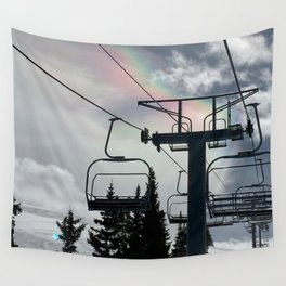 4 Seat Chair Lift Rainbow Sky \\ The Mountain Sun Rays \\ Spring Skiing Colorado Winter Snow Sports Wall Tapestry