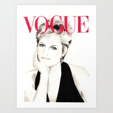 Vogue Magazine Cover. Lady Diana Spencer. Fashion Illustration Art Print