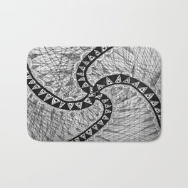 """Hand Drawn """"Systematic yet Chaotic"""" Zentangle Bath Mat"""