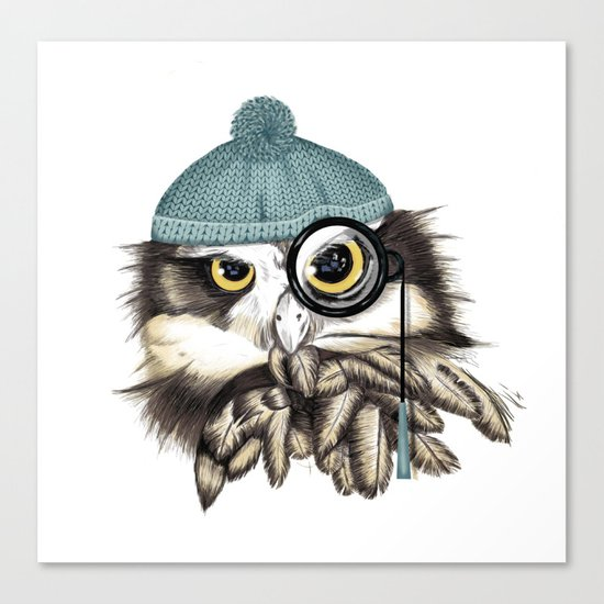 Owl eyeglass and cap Canvas Print