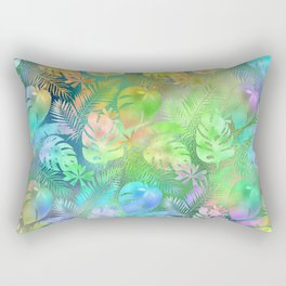 Iridescent Tropical Leaves in Aquas, Greens and Yellows Rectangular Pillow