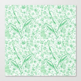 Mermaid Toile - Green Canvas Print