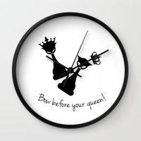 feminism Wall Clocks featuring Chess Cats - Feminism by La Gata Venenosa