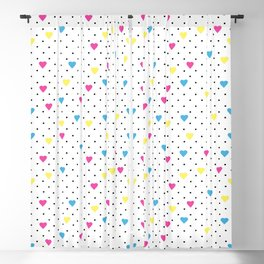 Pin Point Hearts CMYK Blackout Curtain