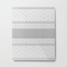 African Wax Print in Grey Metal Print