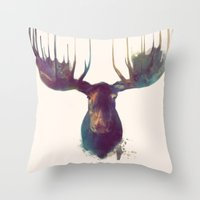 orange pattern Throw Pillows featuring Moose by Amy Hamilton