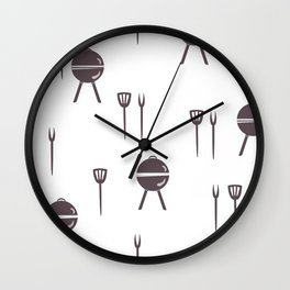 Seamless pattern with grill and kitchen utensils. Wall Clock