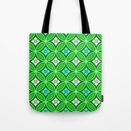 Shippo with Flower Motif, Shades of Jade Green Tote Bag