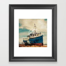 Blue Brown Vintage Nautical Anchor Sailing Boat Framed Art Print