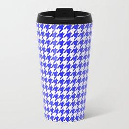 Friendly Houndstooth Pattern, blue Travel Mug