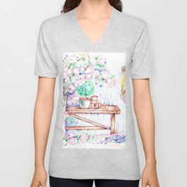 Flowers and bench Unisex V-Neck
