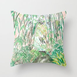 Bamboo Cathedral Sketch - San Marino CA Throw Pillow