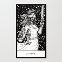 tarot Canvas Prints featuring Justice Tarot by Corinne Elyse