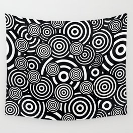 BLACK AND WHITE BULLSEYE ABSTRACT Wall Tapestry