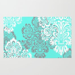Mint Teal and Gray Damask Rug