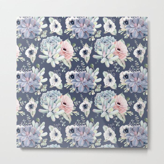 Beautiful Succulent Garden Navy Blue + Pink Metal Print