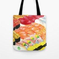 sushi Tote Bags featuring sushi by Shihotana