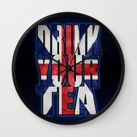 british flag Wall Clocks featuring Tea / British by tshirtsz