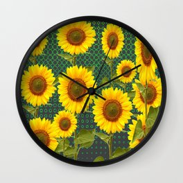 MODERN OPTICAL ART SUNFLOWER FIELD Wall Clock