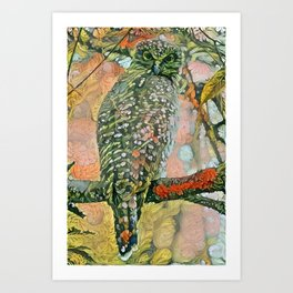 Powerful Owl flora Art Print