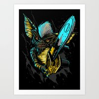gremlins Art Prints featuring Stripe Gremlins by FrightRags