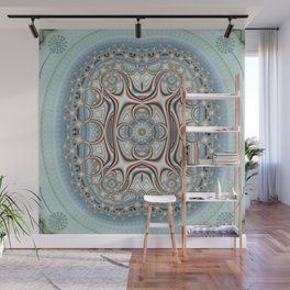 Playful circles pattern with dandelions Wall Mural
