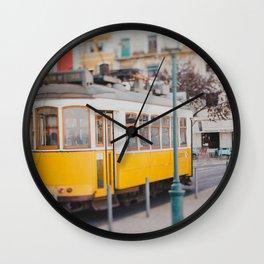 Yellow Tram in Lisbon Wall Clock
