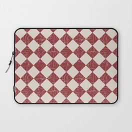 Farmhouse Checkerboard in Brick Red on Cream Laptop Sleeve