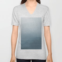 Behr Blueprint Blue S470-5 Abstract Watercolor Ombre Blend - Gradient Unisex V-Neck