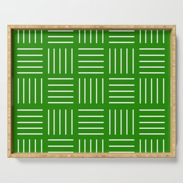 Abstract geometric pattern - green and white. Serving Tray