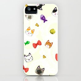 Cat Pattern Cream iPhone Case