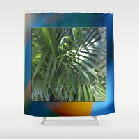 palm Shower Curtains featuring palm by Hannah Siegfried