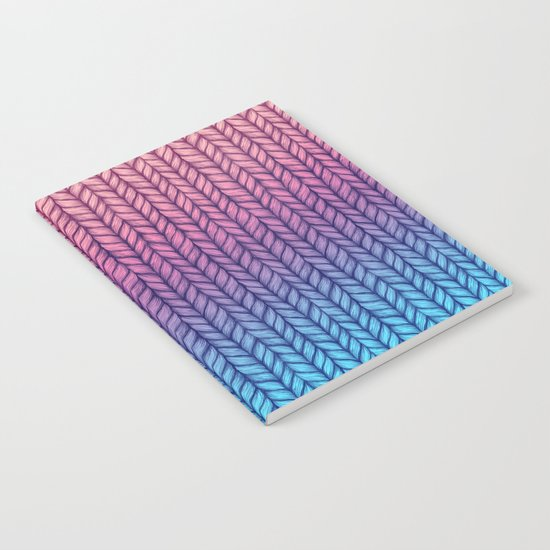 Chunky Knit Pattern in Pink, Blue & Purple Notebook