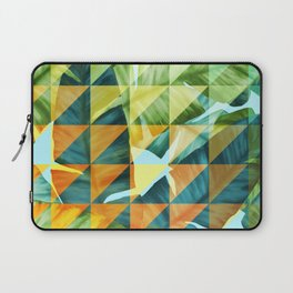 Abstract Geometric Tropical Banana Leaves Pattern Laptop Sleeve