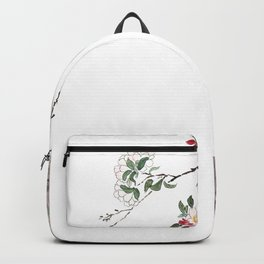 pink cherry blossom Japanese woodblock prints style Backpack