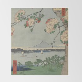 Cherry Blossoms on Spring River Ukiyo-e Japanese Art Throw Blanket