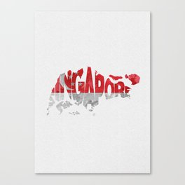 Singapore Typographic Flag / Map Art Canvas Print
