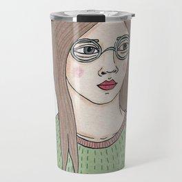 Girl with Glasses Travel Mug