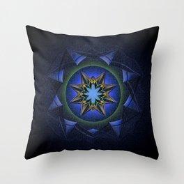 Ninefold Star Medallion Mandala Throw Pillow